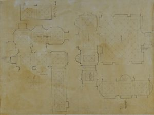 Floorplan sketch of the hall and loggia paving